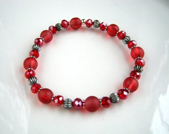 Red Stretch Bracelet Red Crystal and Cranberry Red Bracelet