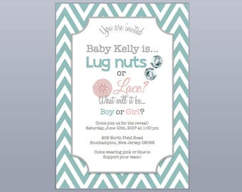 Lug Nuts and Lace Gender Reveal Invitation