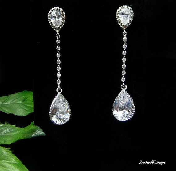 Cubic Zirconia Wedding Earrings Bridal Earrings Long