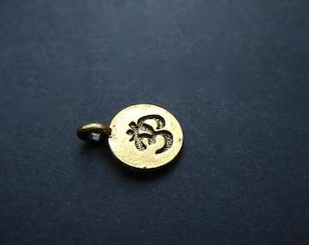 Charm Mantra Ohm Aum, symbol, Yoga, 11mm, gold metal, sold by 2