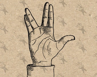 Vintage Image Hand Spock Instant Download Digital printable picture clipart graphic print scrapbooking burlap kraft decor t shirt  HQ 300dpi
