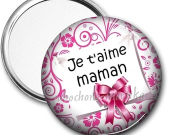 MOM, Pocket mirror, mirror personalized mirror, 50 mm, I love you MOM, gift, mother's day