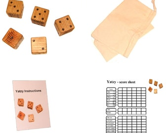 Giant yatzy - Yahtzee - Yardzee - 7cm x 7cm x 7cm - Giant wooden dice - Garden games
