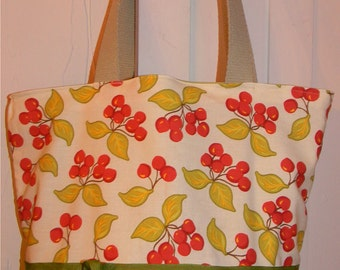 Cream & Green Cherry Cherries Shabby Romantic  Purse Tote BAG or Diaperbag