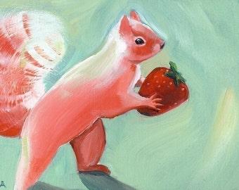 Jane Steals a strawberry- pink squirrel art