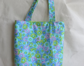 Unique Handcrafted Flowers and lime green Tote Bag