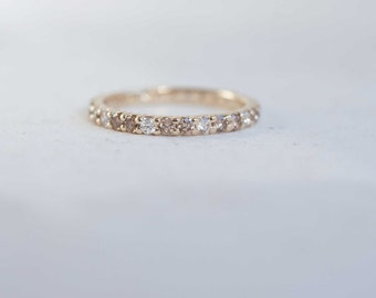 Pavé Champagne Diamond Eternity Band | 14k Recycled Gold