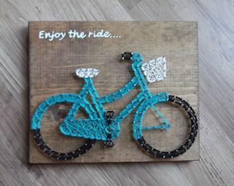 bike string art, bicycle string art, bike wall art, enjoy the ride wall art, string art bike, string art bicylce, bicycle wall decor, bike