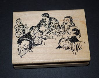 """Vintage Life of The Party Rubber Stamp New Never Used - Retro 50's Party People Laughing by Ken Brown Stamps - 3 1/4"""" by 2 1/2"""" Print Block"""