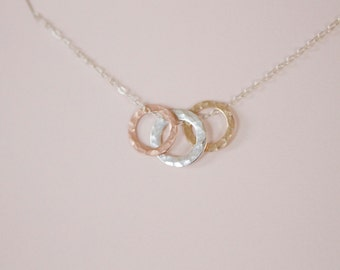 three circles mixed metals necklace, silver, rose gold, yellow gold,  hammered, delicate, simple, new mother, everyday, classic, N98