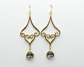 Moroccan Charcoal Drop Earrings, Dangle Earrings, Wedding Jewelry, Bridesmaid Jewelry, Mother's Day, Graduation Gift