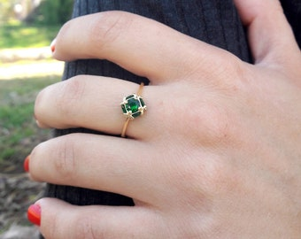 Gold birthstone ring emerald gemstone ring gold jewelry for women personalized ring thin dainty slim ring