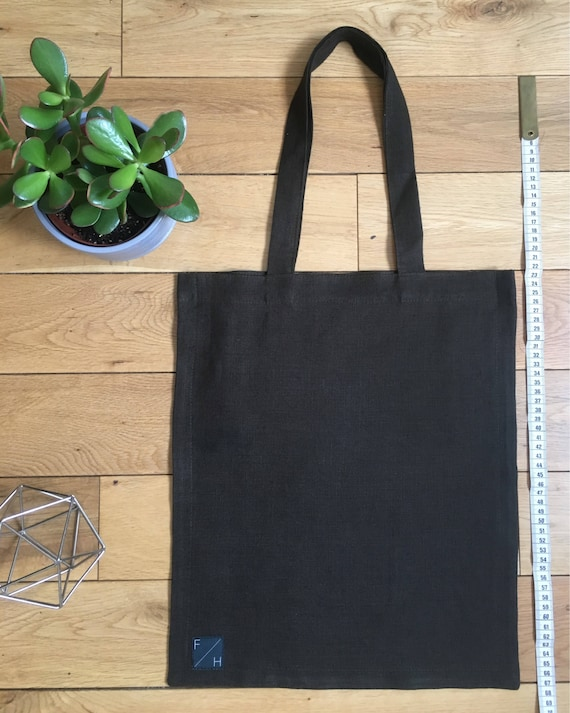 Lightweight olive green linen Tote Bag with zip compartment
