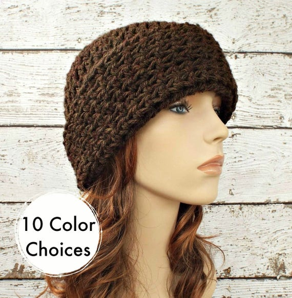 Brown Womens Hat Brown Mens Hat - Wide Cuff Beanie Hat in Walnut Brown Crochet Hat - Brown Hat Brown Beanie Winter Hat - 10 Color Choices