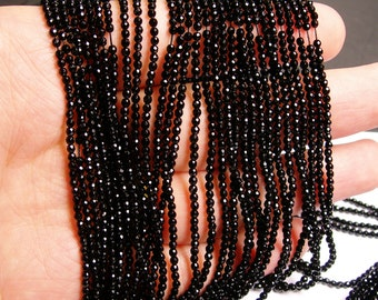 Black Onyx - 2 mm faceted round beads -1 full strand - 187 beads - AA quality - RFG544