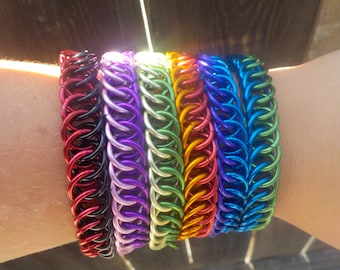 One or Two Coloured Half Persian 4-in-1 Weave Aluminum Chainmail Bracelets Made to Custom Order