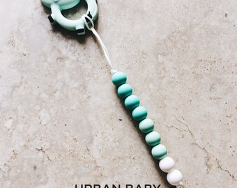 Mint Cow with Brooklyn Mint Pacifier Clip, Silicone Pacifier Clip, Teether, Silicone Beads, Food Grade, Chewelry, Cow, Mint, Turquoise