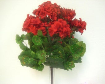 "RED Geranium Bush Artificial Silk Flowers 18"" Bouquet 12-3395RD"