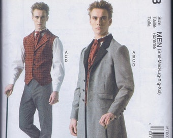 McCall's 7003 Mens Victorian Steampunk Costume Frock Coat Vest Pants Tie UNCUT Sewing Pattern