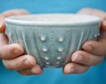Handmade porcelain bowl : blue sea urchin ceramics, seashell ocean pottery, celadon rice bowl, ice cream bowl, cereal bowl, noodle soup bowl