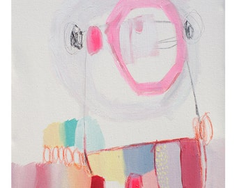 """ABSTRACT painting, fine art, giclee print, white, blue, pink, red, modern painting """"Swings and Roundabouts"""""""