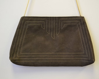 1980s Reva Brown Ultrasuede Purse