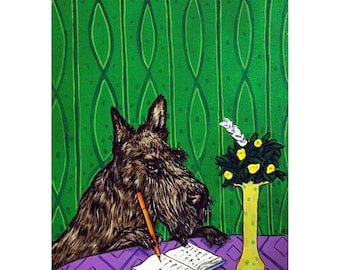 25% off Scottish Terrier Writing in a Journal Dog Art Print