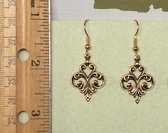 Boucles d'oreilles en filigrane - belle or mat Antique, argent Antique ou Or Antique