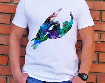 Surfer T-shirt - Art Tee - Fashion T-shirt - White shirt - Printed shirt - Men's T-shirt - Gift