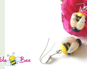 BumbleBee Earrings, yellow and black danglers, Polymer clay, casual chic fashion, Made in Canada