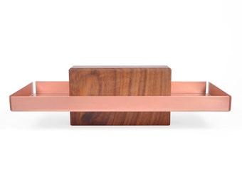 Talbot | Walnut & Copper - Pedestal Tray, Dish, Catch All