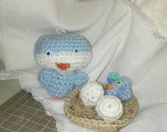"""Mommy and baby bird with nest of eggs 5"""" high crocheted"""