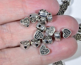 25 Celtic Knot Spacer Beads - 5 mm Celtic Beads - Celtic Beads - Irish Beads - Irish Heart Spacer Beads - Double sided Spacer Beads - 2P1388