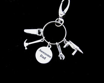 AWESOME DAD  Key Chain - Or - Rear View Mirror Charm - Unique Fathers Day Gift Idea - Handcrafted - Stainless Steel Engraved Disc
