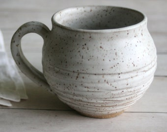 Rustic Stoneware Mug in Matte White Glaze Hand Carved Pottery Coffee Cup 14 oz. Ready to Ship Made in USA