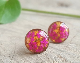 Real Flower Earrings - Pink and Orange Flower Stud Earrings - Nature Jewelry - Real Flower Jewelry -  Queen Anne's Lace