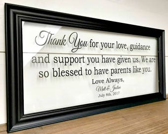 Parents Thank You Wedding Gift, Parents of the Bride Gift, Gift for Inlaws, Mother of the Groom Gift, Personalized Wedding Gift A146