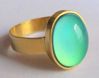 Mood Ring 24K Gold Plated Sterling Silver 925 color changing size 7.5
