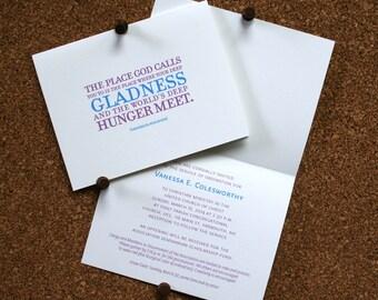 Set of 10 / Graduation Announcement or Invitation / Inspirational Quote