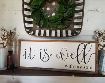 It is well with my soul, gospel, Christian quotes, framed wood sign, it is well woth my soul painted sign, it is well with my soul wall art