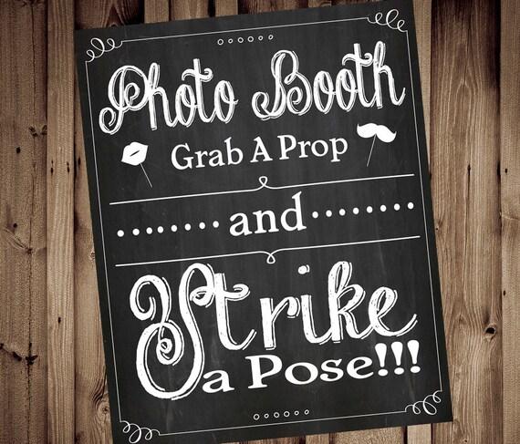 Grab a Prop & Strike a Pose Photobooth Chalkboard Grab a