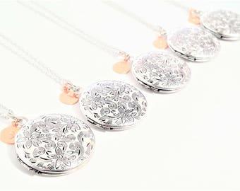 SIX Antique Silver Locket Necklace - Personalized Locket - Bridesmaid necklace -Vintage Silver Locket -Bridesmaid Locket -Flowergirl Locket