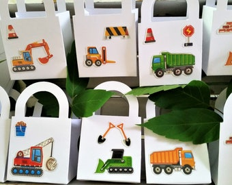 10 Construction/truck party favour boxes - birthday boy party favours - kid's party truck favours - bulldozer/dump truck boxes - boys party