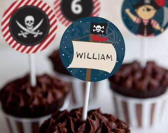 Pirate Party Cupcake Toppers - Pirate Toppers - Set of 12 - Instant Download and Edit File and Edit at home with Adobe Reader