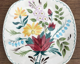 Rare Vintage 1960 Midwinter Pottery Bella Vista Pattern Colourful Handpainted Floral Dinner/Cake Plate Designed By Jessie Tait, Red Yellow