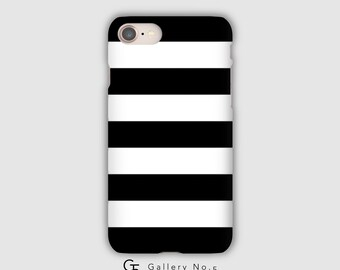Black and white striped phone case - iPhone 7 - iPhone 8 - iPhone X - Samsung Galaxy Note 8 - Samsung Galaxy S6 - S7 - S8 - S9