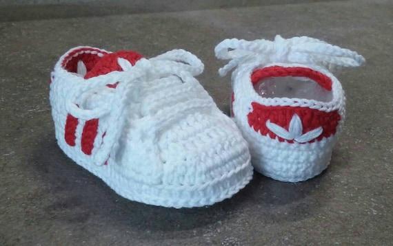 Crochet newborn adidas shoesScarpine a uncinetto