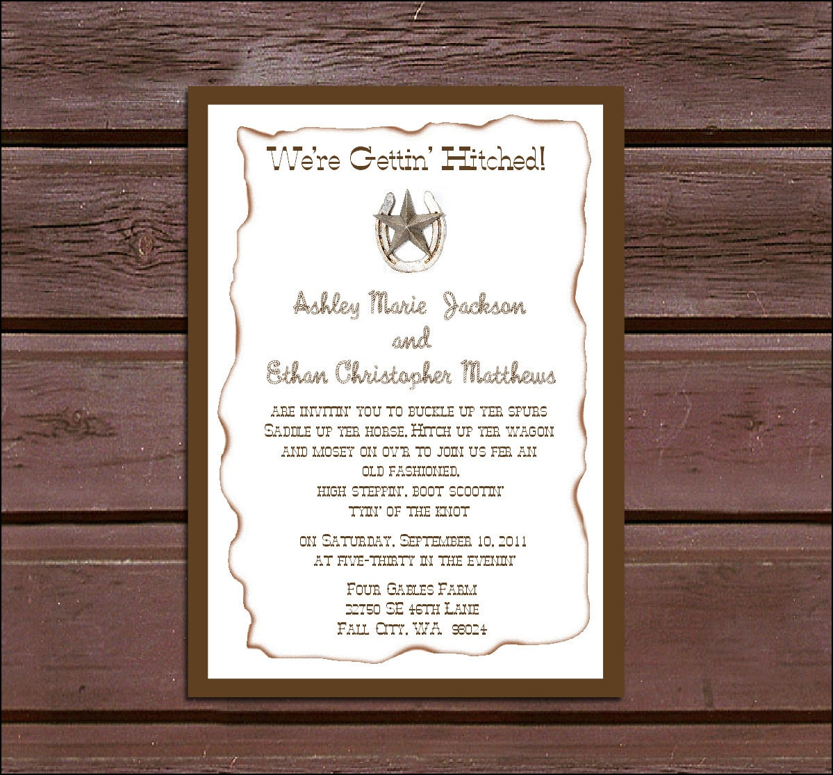 100 Western Country Rustic Wedding Invitations, RSVP\'s, Reception ...