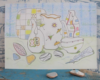 A4 Original pen and watercolour painting. Retro Inspired Ceramics.