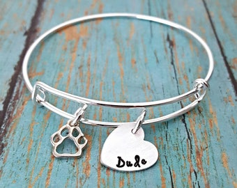 Pet Lover - Dog Lover - Cat Lover - Personalized Pet Bracelet - Paw - Pet Memorial Jewelry - Pet Loss - Loss of Pet - Fur Baby - Dog Mom
